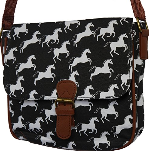 51Lc2u%2BFntL UK BEST BUY #1Ladies Horse / Pony Design Cross Body / Shoulder Bag Handbag (BLACK)