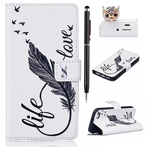 iPhone SE Hülle,iPhone 5S Case,iPhone 5 Cover - Felfy Flip Bookstyle Wallet Luxe Handyhülle Niedlich Farbe Muster mit Bling Diamant Strass Design PU Leather Stand Wallet Flip Lederhülle Case Cover Pou Life Love