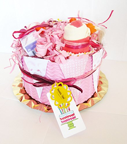 Tarta de Pañales DODOT con Cremas WELEDA de Caléndula BIO, un Cupcake (hecho con un Babero TOMMEE TIPPEE + Calcatines Algodón) y chupete SUAVINEX | Baby Shower Gift Idea | Para Niñas