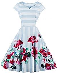 217c95cef46f Bestfort Vintage Kleider Damen 50er Retro Mode Rundhals Cocktailkleider  Knielang Kurze Ärmel Festliche Kleine Blumen Gestreiftes