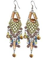 Women Party Jewelry Faux Beads Detailing Dangle Folk Earrings Pair