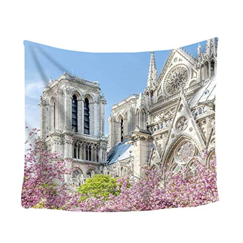Notre Dame de Paris Landschaft Wandbehang Tapisserie Strandtücher Yogamatte Picknickdecke Tuch Stoff Tapisserie Wanddekor Wohnaccessoires Deko Wandteppiche 5.91 * 5.11 inch (B)