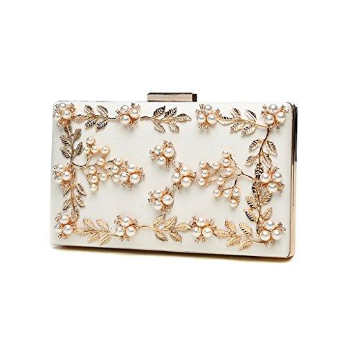 Home Monopoly Pearl Handbag Ladies Borsa Party Banquet Diamond Ladies Cena Pacchetto / con cinghia di spalla ( Colore : Rosso ) Beige