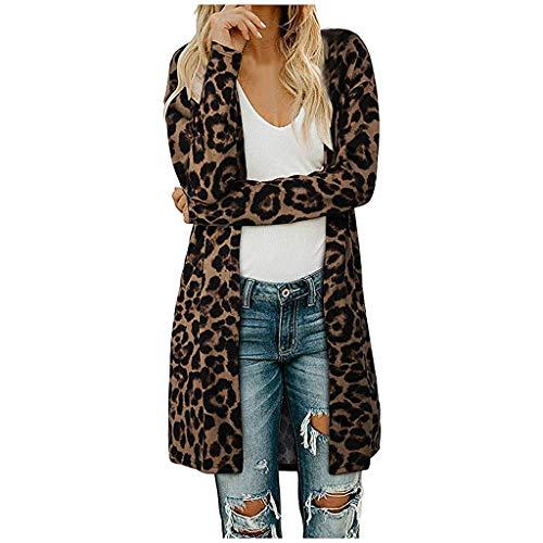 Xinantime Abrigos Mujer Invierno Largos, Abrigo Suelta Tallas Grandes Jersey De Mujers Abrigo de Cárdigan de Leopardo con Frente Abierto para Mujer Abrigo de Suéter Ligero de Manga Larga