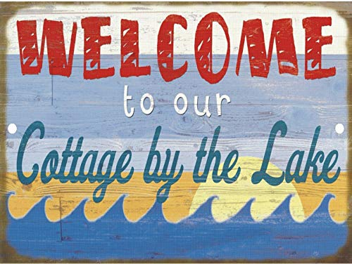 Tiukiu Vintage Retro Welcome to Our Cottage by The Lake Water Metal Sign Wall Decor -