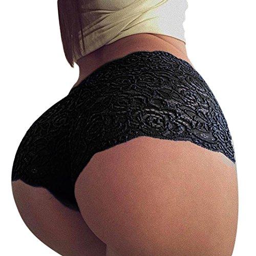 Damen Spitzen Strings FORH Sexy Unterwäsche Dessous Slips Elegant Spitze Blume Pantys Hipster Boxershorts High Waist Elastische Hotpants Reizwäsche Thongs G-String (Schwarz, S) (Panty Kurz Grün)