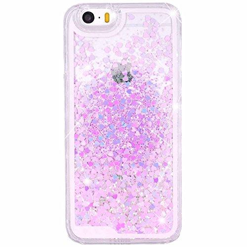merrybiy-fur-iphone-se-5-5s-glitzer-liquid-case-schutzhulle-hard-clear-tasche-cover-love-herz-flussi
