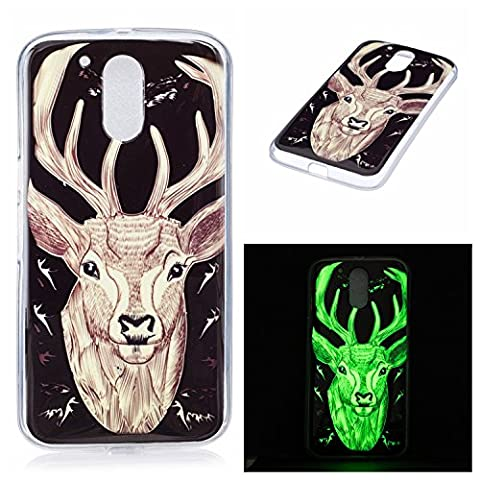 Moto G4 Luminous Case, BONROY® Fluorescent Effect Night Glow In The Dark Transparent Ultra-Thin Soft Gel TPU Silicone Bumper Case Stylish Unique Colourful Printed Pattern Design Anti-Scratch Shock Absorption Protective Case Cover for Moto G4 - Elk