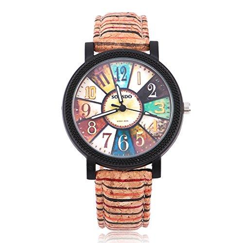 & natürliche Uhr mit Holzstruktur PU Armband analoge Quarz-Armbanduhr für Unisex(Compass Dial) ()