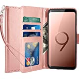 LK Hülle für Galaxy S9, Luxus PU Leder Brieftasche Flip Case Cover Schütz Hülle Abdeckung Ledertasche für Samsung Galaxy S9 (Rose Gold)