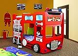 Kinderzimmerbett, Etagenbett, Kinderbett FEUERWEHR FIRETRUCK Doppelbett in den Farbe rot inkl. 2 Matratzen und 2 Lattenroste in der Größe 90x190 unschädlich lackiert, NEU.