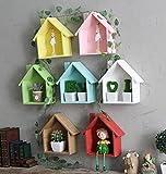jellbaby creativo pequeña casa Multi-propósito multi-carne planta estantes cuadro decorativo de madera colgante * 1pc 19*24*9cm verde