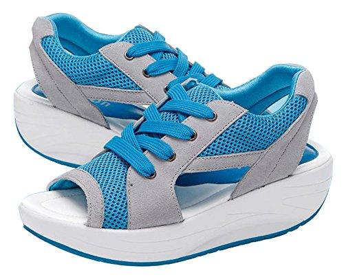 Dayiss Damen Sommer Schuhe mit Kleilbabsatz Schürschuh Sport Freizeitschuhe Turnschuh Peeptoes Blau