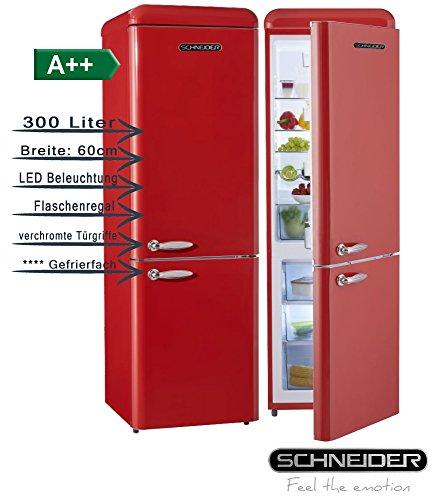 Schneider SL300B Retro Design Kühl-Gefrier-Kombination EEK: A++ 60cm breit, 300 Liter 4**** Gefrierteil 190cm hoch (Feuerrot glänzend)