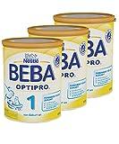 Nestlé BEBA OPTIPRO 1 Anfangsmilch, altersgerecht sättigende Baby-Milch, Milchpulver, für Säuglinge, von Geburt an, 3er Pack (3 x 800g)