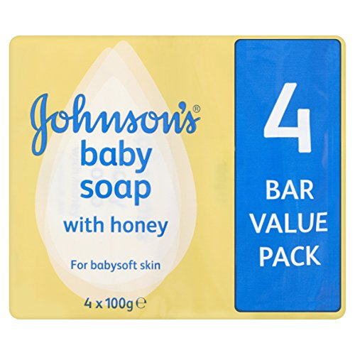 JOHNSONS Baby Soap With Honey For Baby Soft Skin 4's 4 PACK