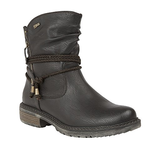 Lotus Relife Busby Black Matt Flat Ankle Boots 38