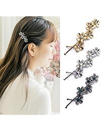 qtmy 3pcs metal flor horquilla clips de pelo accesorios para el pelo