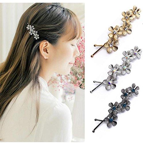 qtmy 3PCS Metall Blume Haarspange Haar Clips Haar Zubehör