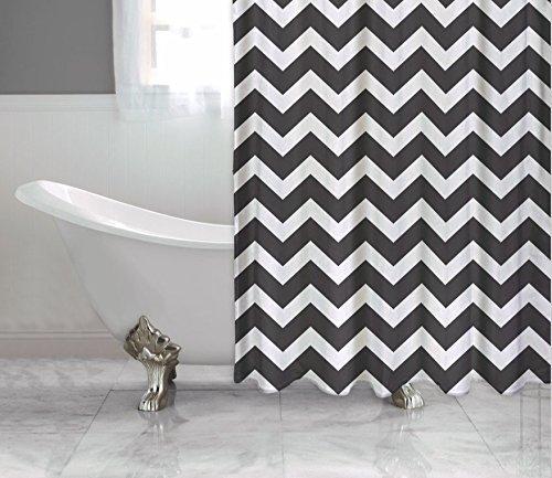 Schwarz und Weiß Chevron Duschvorhang, Polyester Stoff, klassisches Bold Design, schimmelfrei (Schwarzer Duschvorhang 78 In)