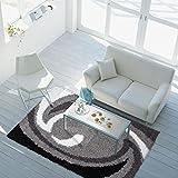 carpet city % Sale Teppich Modern Hochflor Shaggy Wohnzimmer Wellen Muster Grau Schwarz Weiss Größe 80/150 cm