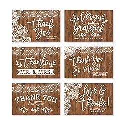24 rustikale Hochzeits-Dankeskarten mit Umschlägen, elegante Brautdusche, Dankeskarte aus Kunstholz, personalisierbar