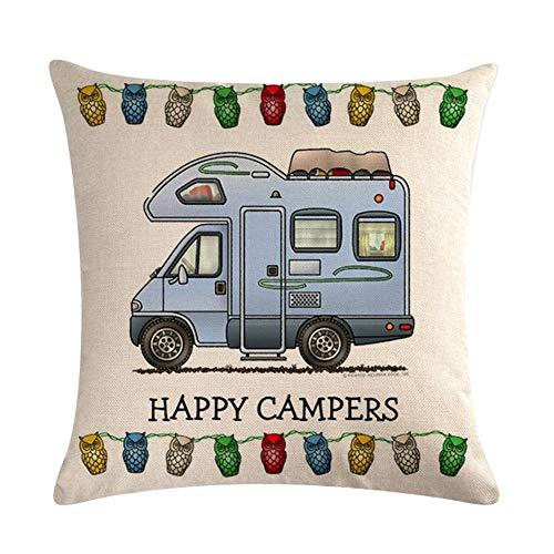 WopenJucy Happy Campers - Funda de cojín de Lino Suave para sofá,...