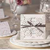 10 x Off White/Pale Cream Ribbons and Lace Blank Laser Cut Wedding Invitations Cards DIY With Blank Inserts and Envelopes Inc (RL1)