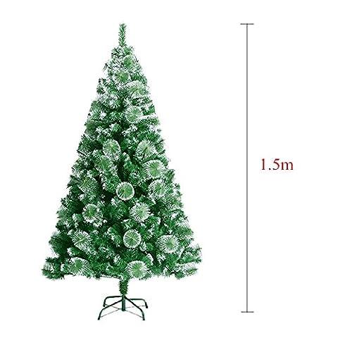 MCTECH Künstlicher Weihnachtsbaum Geschmückter Grün Natur-Weiss Christbaum Tannenbaum mit Schnee-Effekt PVC (150CM)