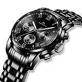 Herren Uhren Schwarz Männer Wasserdicht Luxus Chronograph Datum Kalender Kleider Edelstahl Armbanduhr Multifunktions Sport Leuchtende Analoge Quarzwerk Mode Design Römische Ziffern Stopuhr