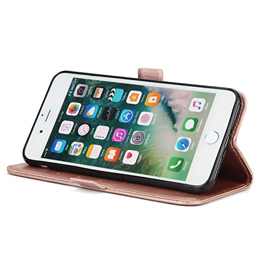 EKINHUI Case Cover Fairy Girl & Flowers Embossing Style Synthetik Leder Tasche Horizontale Flip Stand Brieftasche Tasche mit Lanyard & Card Slots für iPhone 7 Plus ( Color : Green ) Rosegold