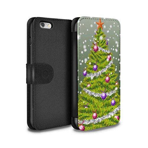 STUFF4 PU-Leder Hülle/Case/Tasche/Cover für Apple iPhone 6 / Lila Muster / Weihnachts Tannenbaum Kollektion Grün
