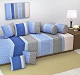 #1: The Decor Hub Heavy Fabric Floral Design Diwan Bedsheet Set of 8 Pieces for Living Room (Blue Grey)