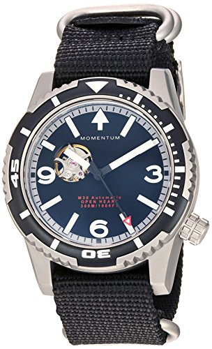 Momentum Men's 'M30 Open Heart Automatic' Mechanical Hand Wind Stainless Steel and Nylon Casual Watch, Color:Black (Model: 1M-DV32B7B)