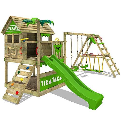 FATMOOSE Spielturm TikaTaka Town XXL Kletterturm mit Surf-Anbau, Rutsche und viel Spiel-Zubehör, apfelgrüne Rutsche