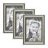 Photolini 3er Set Bilderrahmen Silber Barock Antik 10x15 cm Fotorahmen mit Glasscheibe/Kunststoffrahmen