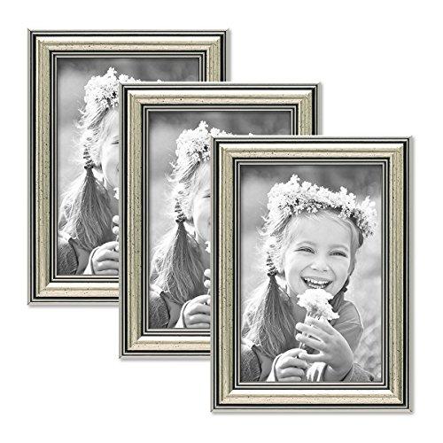 PHOTOLINI 3er Set Bilderrahmen Silber Barock Antik 10x15 cm Fotorahmen mit...