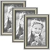 Set de 3 marcos en tono plata de estilo barroco, marco para fotos de 10x15 cm con cristal / Marco de plástico