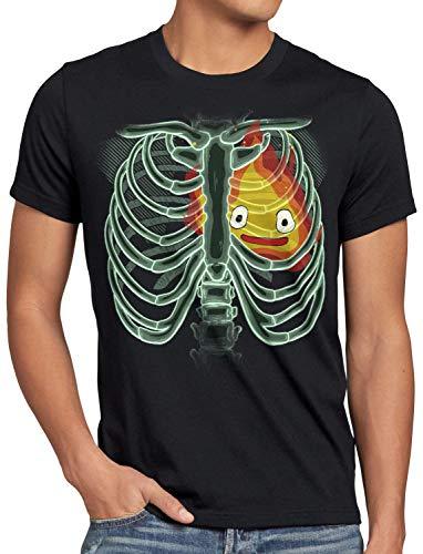 CottonCloud Calzifer X-Ray Herren T-Shirt Japan das wandelnde Schloss röntgen, Größe:XL