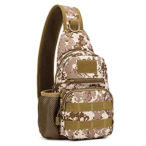 GADIEMKENSD Tactical Military Sling Chest Bag Leisure Camouflage Crossbody Backpack With Kettle Set For Ipad Sports Outdoor Hunting Riding Trekking(Desertdigital)