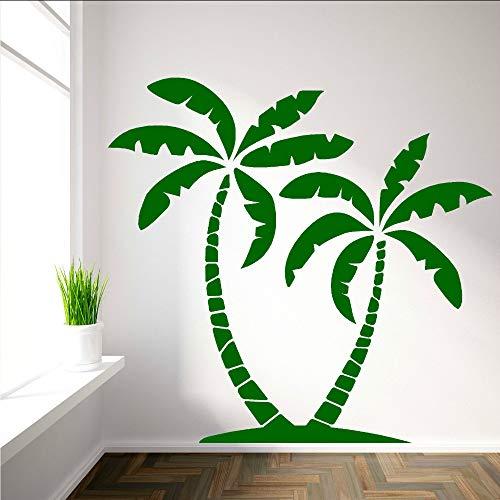 jukunlun 2 2 Palm Abnehmbare Wandtattoo Palms Baum Vinyl Wandaufkleber Steuern Dekor Wohnzimmer Kunst Design Wasserdichte Aufkleber Dekoration 57X54 Cm