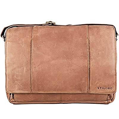 STILORD 'Erik' Vintage Sac d'épaule en cuir PC Portable 15.6 pouces Sacoche Sac en bandoulière Besace en Cuir Véritable