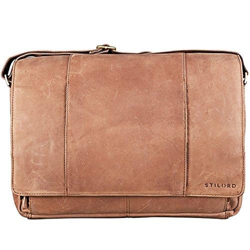 STILORD  Erik  Vintage Sac d épaule en cuir PC Portable 15.6 pouces Sacoche  Sac en bandoulière Besace en Cuir Véritable 1b1331579938