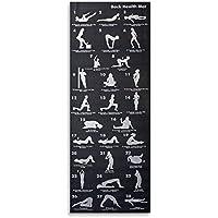 Noir Tapis De Yoga With 28 Asana postures - Mousse à mémoire de forme et transport sangle, exercice Tapis pour Pilate, Asana ou méditation, 180cm x 60cm