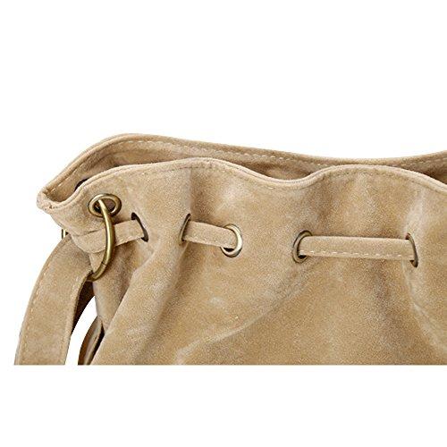 Lmeno Borsa delle donne Frangia della nappa Borsa a tracolla pelle scamosciata del Faux del Messaggero di Crossbody della borsa di moda Borse a Tracolla Donna--Beige Beige