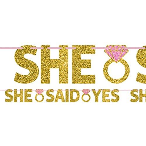 """Party Palast - Hochzeit Dekoration Girlande - """"She Said Yes"""" - 1 Stück, 3,6m, Gold"""