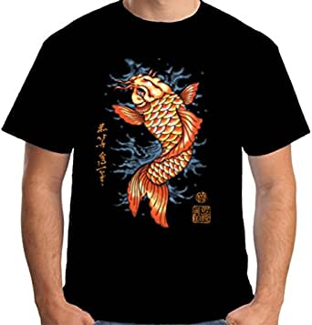 Velocitee Mens T-Shirt Koi Carp Tattoo W12565 S Black