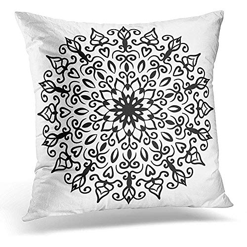 Xukmefat Decorative Pillow Cover Mandala Round Line Flower Floral Chakra Symbol for Meditation Yoga Complex Flourish Weave Medallion Throw Kissenbezug Square Home Decor Pillowcase 18x18 Inches