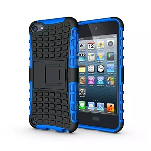 IPod Touch 5/6 Case, LUOLNH 2 in 1 Hybrid Armor Cover Tough Protective Hard Kickstand Phone Case for Apple iPod touch 5th/6th Generation(Blue)