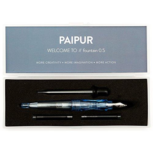 b783ad9646 Paipur, penna stilografica in acciaio inox con pennino medio da 0,5 mm,  ideale per calligrafia, con 2 cartucce di inchiostro, convertitore per  inchiostro e ...